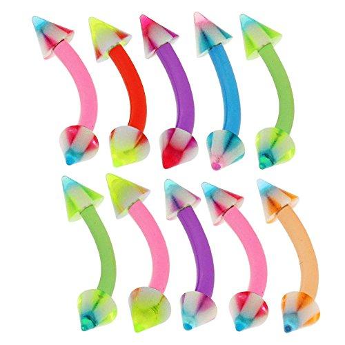 10 Stück-Packung mit 3MM UV-Streifen Kreuz Kegel mit 16 Gauge - 8MM Länge Bioplast Flexible Banane Augenbraue Bar Piercing