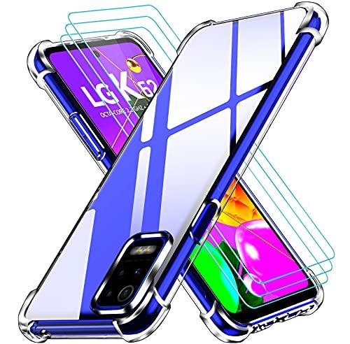 ivoler Funda para LG K52 / LG K62 + 3 Unidades Cristal Vidrio Templado Protector de Pantalla, Ultra Fina Silicona Transparente TPU Carcasa Airbag Anti-Choque Anti-arañazos Caso