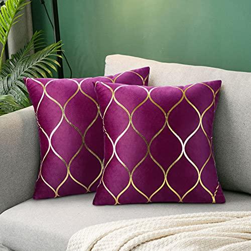 Fundas de Almohada de Terciopelo Púrpura Paquete de 2 Fundas de Cojín de 45cmx45cm Fundas de Almohada Decorativas Cuadradas para El Sofá del Dormitorio Cojines del Sofá Sala de Estar