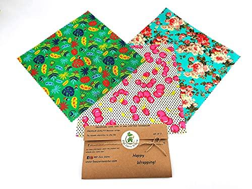 Bienenwachs-Wraps, zufällige Farben, BEE Zero Waste, handgefertigt in Großbritannien, Alternative zu Frischhaltefolie, für natürliche Lebensmittelaufbewahrung (Set of 3L)