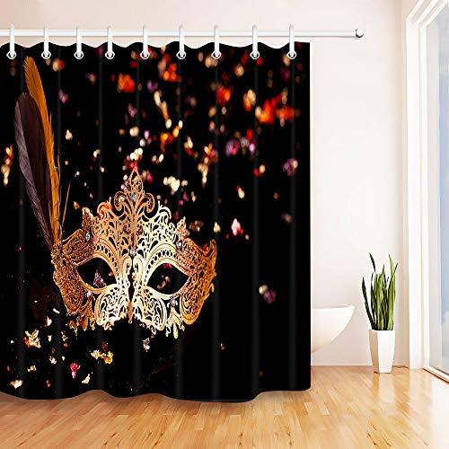 123456789 Gold carnaval masker douchegordijn liner badkamer mat set polyester stof haken