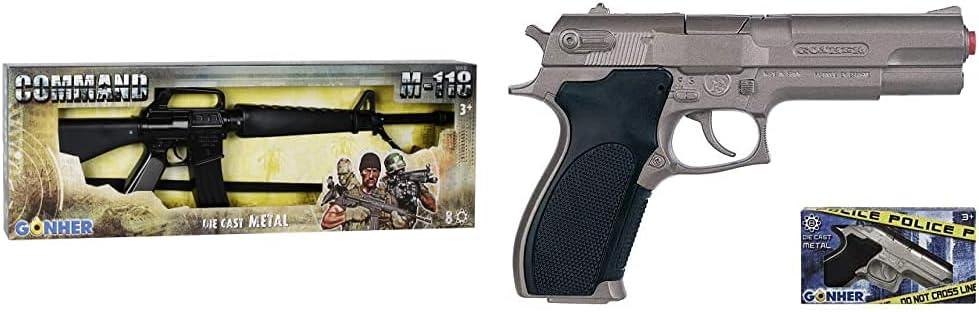 Gonher -Metralleta Metal, Color Negro, Sin Talla (118/6) + -Pistola Policía con 8 Disparos, Multicolor, Sin Talla (45)