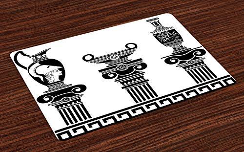 ABAKUHAUS Toga-Party Platzmatten, Hellenische Vasen und ionische Säulen Künstlerisches Design Amphore Antike Kultur, Tiscjdeco aus Farbfesten Stoff für das Esszimmer und Küch, Weiß und Schwarz