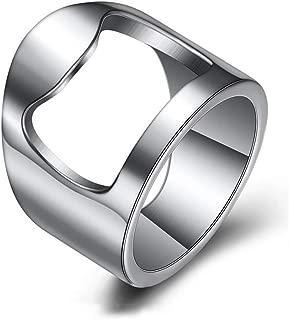 INRENG Stainless Steel Biker Finger Bottle Opener Ring for Men Women Creative Beer Bar Tool Jewelry