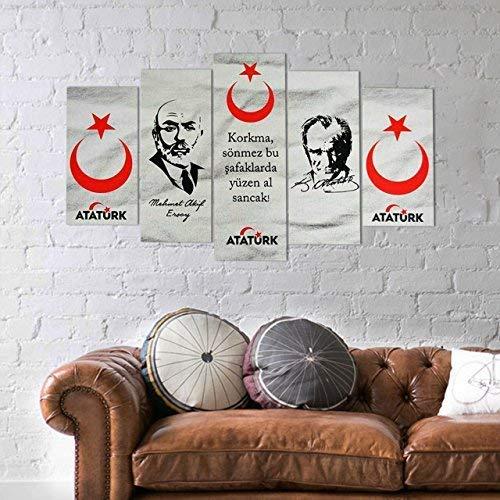 bedibuy 5 teiliges Wandbild MDF Wanddekoration Atatürk und Mehmet Akif Ersoy Türkische Kultur Politik b-4021 Bild - 5 Parca MDF Tablo Mehmet Akif Ersoy ve Mustafa Kemal Atatürk