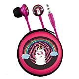 Volkano Cute Kids Earphones 3.5mm Aux Output, Wired for PC/Cell Phones/TV, in-Ear Silicone Noise Isolating Earbuds, Carry Case Storage Pouch Included, Unisex Kiddies Girls 3+ [Pink] - Llama Series