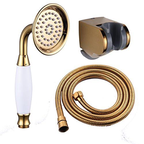 CIENCIA Duschkopf Messing Handbrause Hochdruck Duschbrause 1/2 zoll Gold Handbrause mit Schlauch und Duschbrause Halterung, BS126F