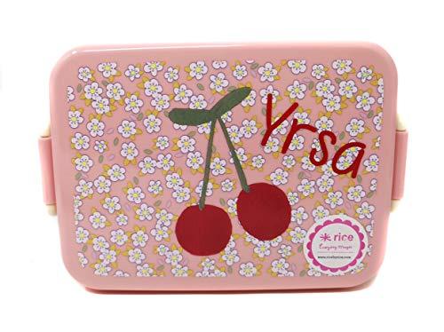 Elfenstall Rice Lunch-Box Frühstücksbox Vesperdose Frühstücksdose mit Abtrennung personalisiert mit Wunsch-Name (Kirsche)