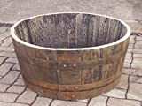 Half Oak Whiskey Barrel WITH DRAINAGE HOLES garden planter, tub, trough for plants from Buttercup Farm