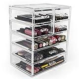 Sorbus Cosmetics Makeup and Jewelry Big Storage Case Display - Stylish Vanity, Bathroom Case (3 Large, 4 Small Drawers, Black Jewel)