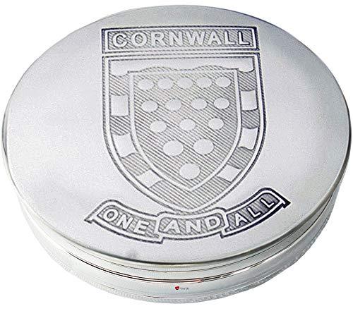 Caja de Baratijas de Peltre Gran Escudo Nacional de Cornualles Y Lema en la Tapa 90 mm