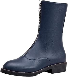 RAZAMAZA Women Fashion Low Heels Short Boots Zipper