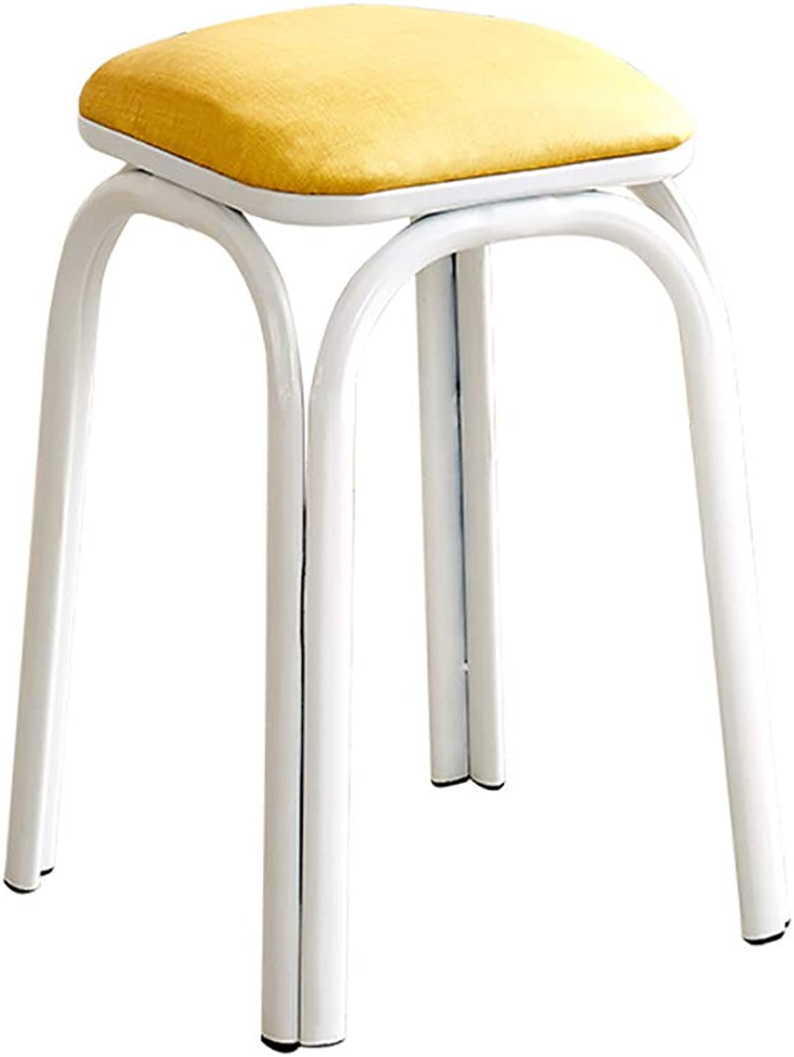 Stool Iron Stool Table Stool Living Room high Stool Fashion Creativity Square Four feet Solid color Size  26  26  46cm (color   D)