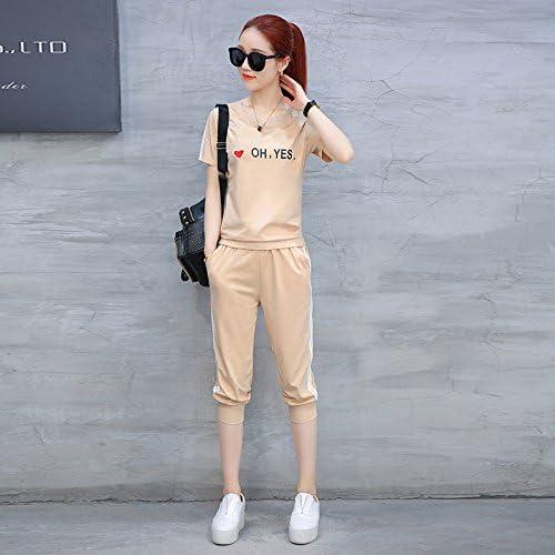 QNQA des vêtements à hommeches courtes, les filles, summer 2 mode fonctionnement occasionnel occasionnel des vêtements, deux ensembles de vêtements,xl,champagne