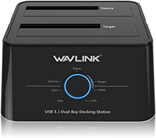 Wavlink USB C 3.1 to SATA Dual Bay External Hard Drive Docking Station with Offline Clone for 2.5/3.5in SSD HDD SATA (SATA...