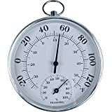 CHIVENIDO Indoor Outdoor Thermometer Wireless - Weather Dial Hygrometer Thermometer, No Battery Required Hanging Hygrometer for Wall, Table, Car, Greenhouse or Decorative, Round 4' in Diameter