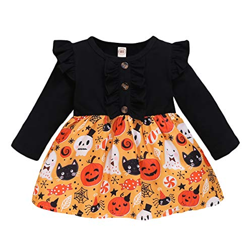 Kids Toddler Baby Girls Dresses Pumpkin Ghost Spider Bell Sleeve Dress Outfit Fall Clothes (Black, 18-24 Months)
