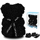 Rose Flower Bear for Anyone Love,Artificial Flowers Forever Bear,Romantic Gift for Her,Valentines Day,Mothers Day, Anniversary, Birthday ,Wedding,Unique Clear Gift Box(Black)