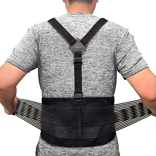 Back Brace For Lifting Work Y-shape Suspenders Safety Belt With Dual 3D Lumbar Support Relieve Pain, Prevent Injury -- XL/XXL