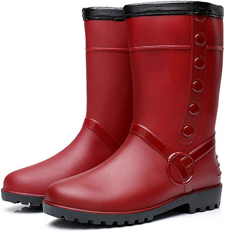 Winter Fashion Ladies rain Boots, Middle Tube Thick Velvet Cotton Adult rain Boots, Warm Non-Slip shoes,Red,41