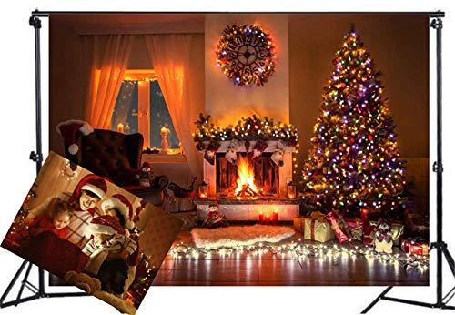 WaW Kerstmis Achtergrond Fotografie Achtergrond Binnenkamer Open haard Kerstboom Familie Verzamelen Partij Kunst Fotografie Photo Studio, Chirstmas21, 10x6.5ft