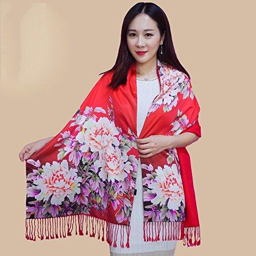 LIUYENIU Double écharpe en Soie féminine Automne Hiver Longue Section Double Face Soie Pull Cachemire châle Dame Rouge