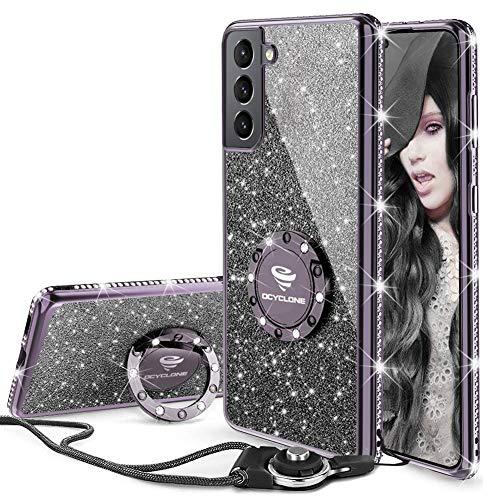 OCYCLONE Hülle Kompatibel mit Samsung Galaxy S21, Glitzer Diamant Handyhülle mit Trageband & Handy Ring Ständer Schutzhülle für Galaxy S21 Handy Hülle für Mädchen Frauen, [6,2 Zoll] (Schwarz)