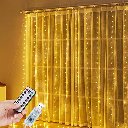 PEYOU Cortina de Luces Navidad, 3m x 3m LED Cadena de Luces IP65 Impermeable Interior y Exterior, Conexión USB, 8 Modos, para Decoración de Navidad, Fiestas, Bodas, etc (Blanco Cálido)