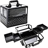 Ver Beauty 3.8mm armored acrylic makeup case jewelry portable travel organizer with 4 extendable trays clear cover micro-fiber cloth brush holders keylocks - vp017, Black Diamond