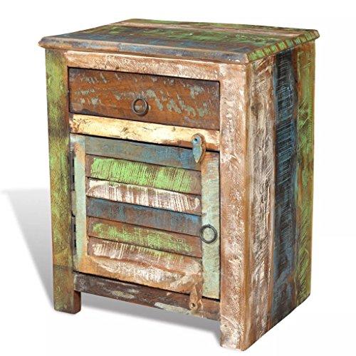 vidaXL Gabinete de Madera Reciclada Multicolor Mesa Auxiliar 1 Cajón 1 Puerta