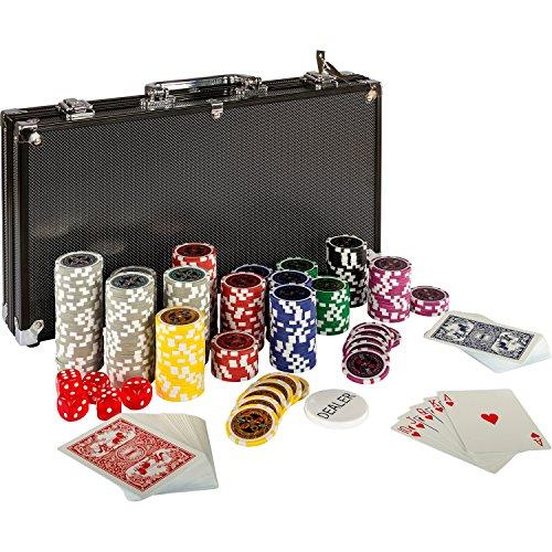 Ultimate Black Edition Pokerset, 300 hochwertige 12 Gramm METALLKERN Laserchips, 100{3ce0b2518b879588ac95768b8faaa8e97470da7e15c281410fee2899ccb27084} PLASTIKKARTEN, 2x Pokerdecks, Alu Pokerkoffer, 5x Würfel, 1x Dealer Button, Poker, Set, Pokerchips, Koffer, Jetons