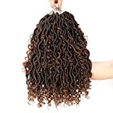 14 Inch 6 Packs 1B-30# River Goddess Locs Crochet Hair Wavy With Curly Ends Pre-loop Synthetic Crochet Braids Twist Braiding Goddess Faux Locs Hair Extensions
