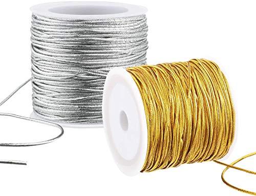 FLOWERTEEN 2 Rolls Metallic Elastic Cords Stretch Cord Ribbon Gold Twine String Metallic Tinsel Cord Rope Stretchy Beading Thread 25M/82Feet DIY Jewelry Craft Making Gift Wrapping, 1 mm