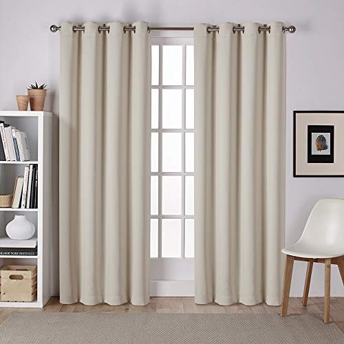 Exclusive Home Curtains Sateen Twill Woven Blackout Grommet Top Curtain Panel Pair, 52x96, Linen, 2 Count
