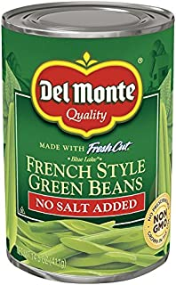 Del Monte Canned French Style No Salt Added Green Beans, 14.5 Ounce (Pack Of 12)