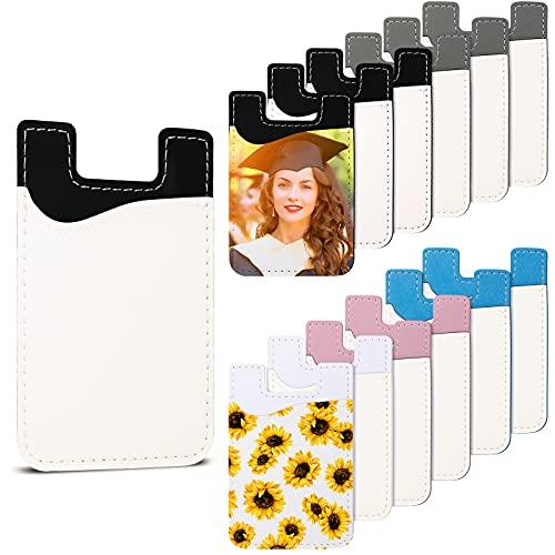 10 개 승화 공백화 지갑 PU 가죽 카드 홀더 휴대폰 카드는 카드 포켓 ID 경우 주머니에 집착 지갑 주머니에 대한 전화 접착 스티커 DIY HTV