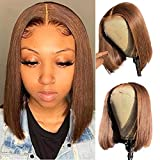 """Short Bob Wigs Bleached Knots 10"""" Glueless Lace Front Straight Human Hair Wigs for Black Women 13x1 Middle Part Bob Blunt Cut Wig Pre Plucked Hairline Color #4"""
