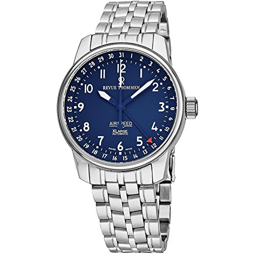 Revue Thommen Air Speed XLarge Classic Mens Automatic Watch - Analog Blue Face Swiss Automatic Stainless Steel Watch for Men 16050.2135