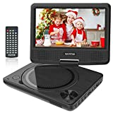 WONNIE 9 inch Portable DVD Player for Kids, Travel DVD Player for Car, with 7 inch Swivel Screen, Remote Control, USB / SD Card Reader, Support Last Memory and Region Free ( Black)