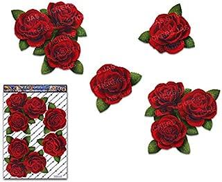 赤いバラの花大パック結婚式デカール車ステッカー-ST00066RD_3-JASステッカー