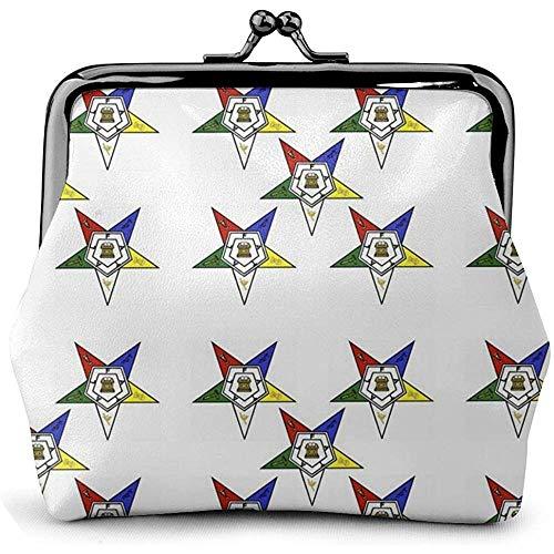 Stars Oosterse sterren lederen munt portemonnee kussen slot veranderen zak vintage gesp sluiting gesp portemonnee