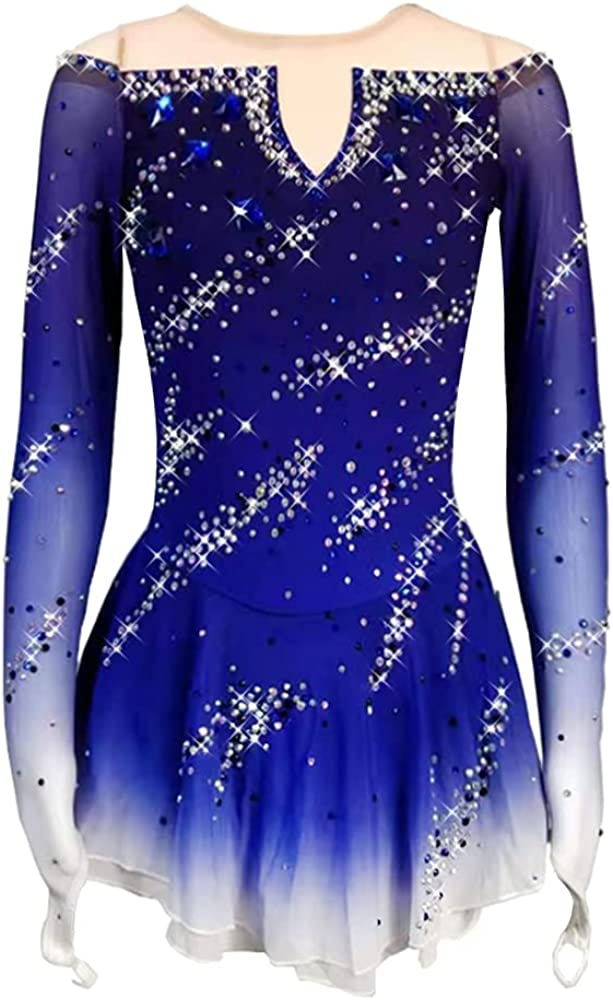gift LIUHUO Figure Skating Dress Animer and price revision Girls Gradient Blue Performance Ice