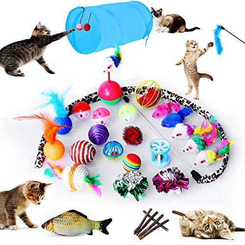 pedy 30 Stück Katzenspielzeug Set mit Katzentunnel,Jingle Bell, Spielzeugmäuse,Katzenminze,Bälle,Fisch,Sortenpaket für Katzen Spielzeug