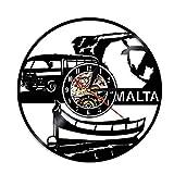 SSCLOCK Reloj de Pared de la República de Malta Reloj de Pared con Disco de Vinilo Vintage Países Europeos Viajes Turismo Regalos Recuerdos con LED