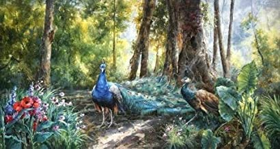 The Polyster Canvas Of Oil Painting 'Peacocks In The Forest' ,size: 16x30 Inch / 41x76 Cm ,this Cheap But Art Decorative Art Decorative Canvas Prints Is Fit For Laundry Room Gallery Art And Home Artwork And Gifts
