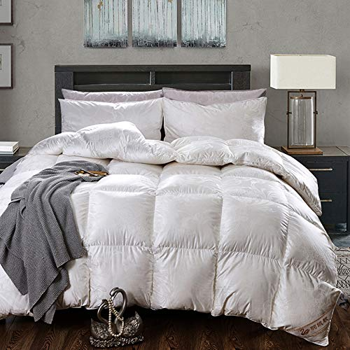 BDHBB Lujoso All Seasons Goose Feather Feather Down King Size Duvet Insert, 900 Rellle Power Exquisite Soft 1500 Thread Count Impresión Cáscara de algodón,79 * 90 Inch/fill3.5kg