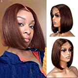 "Short Bob Wigs Bleached Knots 10"" Glueless Lace Front Straight Human Hair Wigs for Black Women 13x1 Middle Part Bob Blunt Cut Wig Pre Plucked Hairline Color #4"
