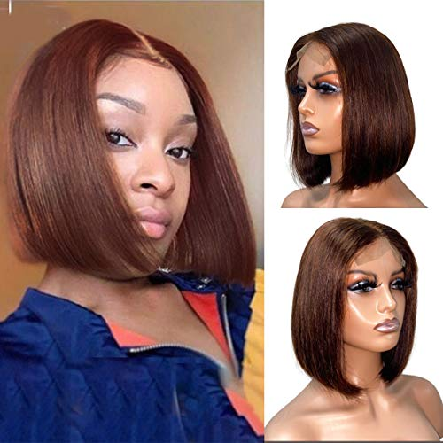 Bob Wigs Real Human Hair 13x4x1 Bob Lace Frontal Wigs 12' for Black Women Colored Brown Bob Cut Wig Full Ends Pre Plucked with Elastic Bands Natural Hairline