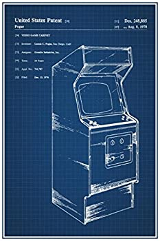 Retro Arcade Video Game Cabinet Official Patent Blueprint Cool Wall Decor Art Print Poster 24x36