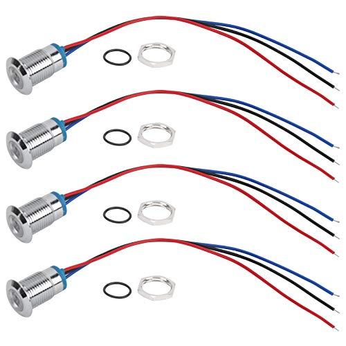 4 juegos de LED redondos precableados Impermeable Luz de 2 colores Ánodo común Electrodo de ánodo 12-24 V 12 mm Mini luz LED redonda de espacio libre(rojo azul)